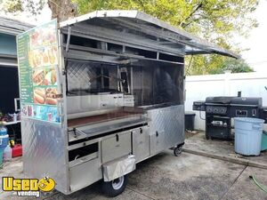 Stainless Steel Street Food Vending Cart / Used Food Concession Cart