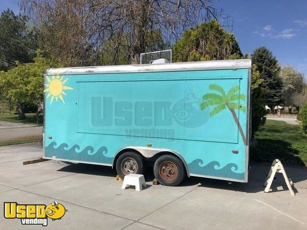 Used 8' x 16' Shaved Ice Concession Trailer / Mobile Snowball Business