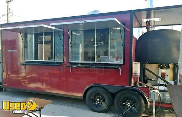 2018 - 8' x 28' Wood-Fired Pizza Concession Trailer with Porch