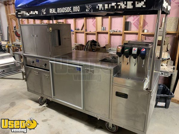 All Stainless Steel 3' x 8' Sierra Carts Class B BBQ Food Vending Cart