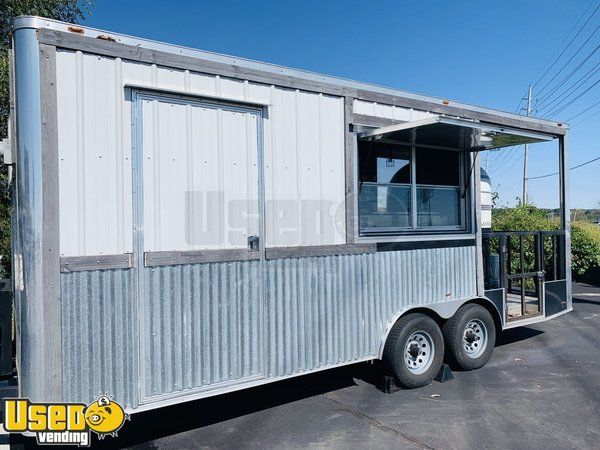 Used 2017 20' Pizza Concession Trailer with a Wood Burning Oven and Porch