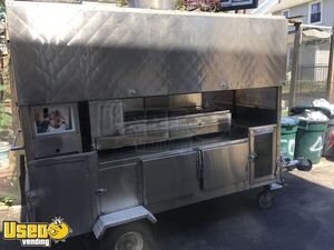 Stainless Steel Mobile Street Food Vending Large Concession Cart