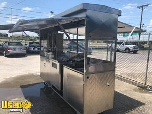 Used Stainless Steel 3' x 7 Mobile' Food Vending Concession Cart