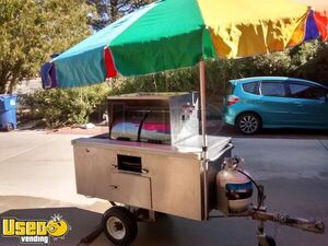 2.8' x 4.9' Hot Dog / Street Food Vending Cart w/ Umbrellas