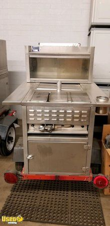 All Stainless Steel Street Hot Dog Concession Cart / Used Food Vending Cart
