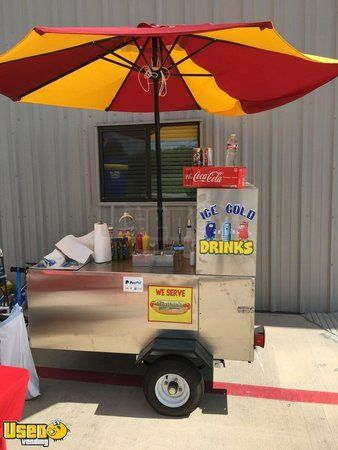 All Stainless Steel 2018 4.5' x 7' The Big Dog Hot Dog Vending Concession Cart