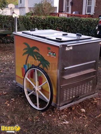 All Stainless Steel 2009 Worksman 2.5' x 4' Italian Ice Vending Push Cart
